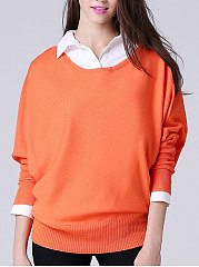 Round Neck  Plain  Batwing Sleeve  Long Sleeve Pullover