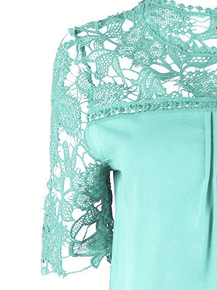 Spring Summer  Polyester  Women  Round Neck  Patchwork See-Through  Lace  Short Sleeve Blouses