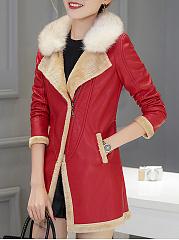 Faux-Fur-Collar-Patchwork-PU-Leather-Coat