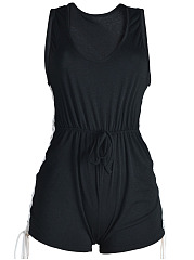 Scoop-Neck-Elastic-Waist-Lace-Up-Romper