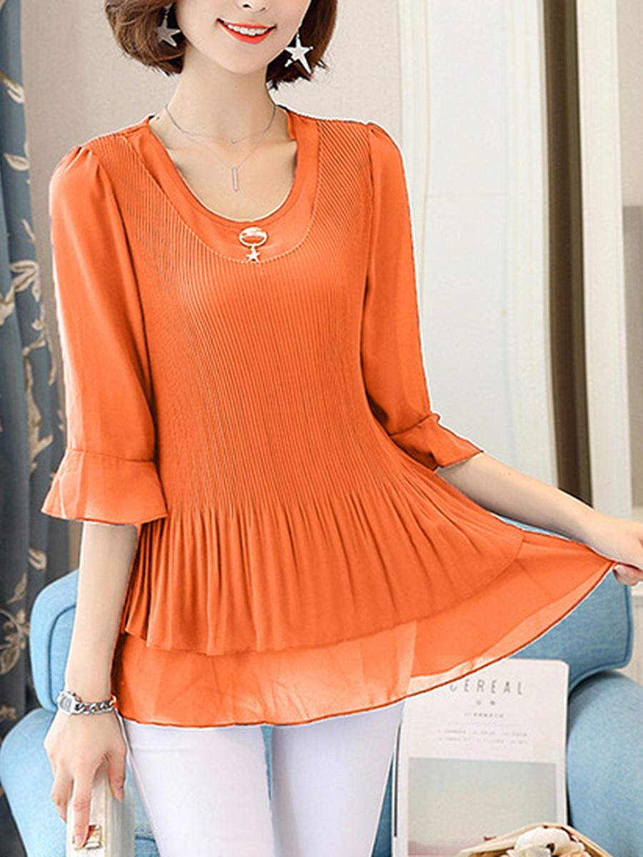 Round Neck Pleated Plain Bell Sleeve T-Shirt