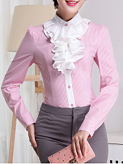 Band Collar Pinstripe Ruffle Front Blouse