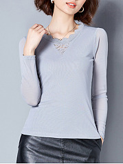 Hollow Out Plain Long Sleeve T-Shirt