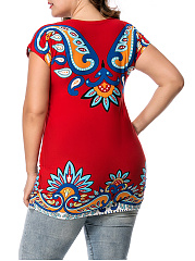 Round Neck Colorful Paisley Printed Plus Size T-Shirt