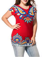 Round-Neck-Colorful-Paisley-Printed-Plus-Size-T-Shirt