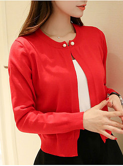 Collarless  Beading  Plain  Long Sleeve Cardigans