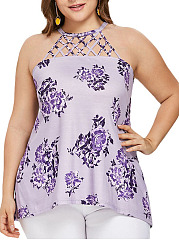 Open Shoulder  Racerback  Floral Printed  Sleeveless Plus Size Tops