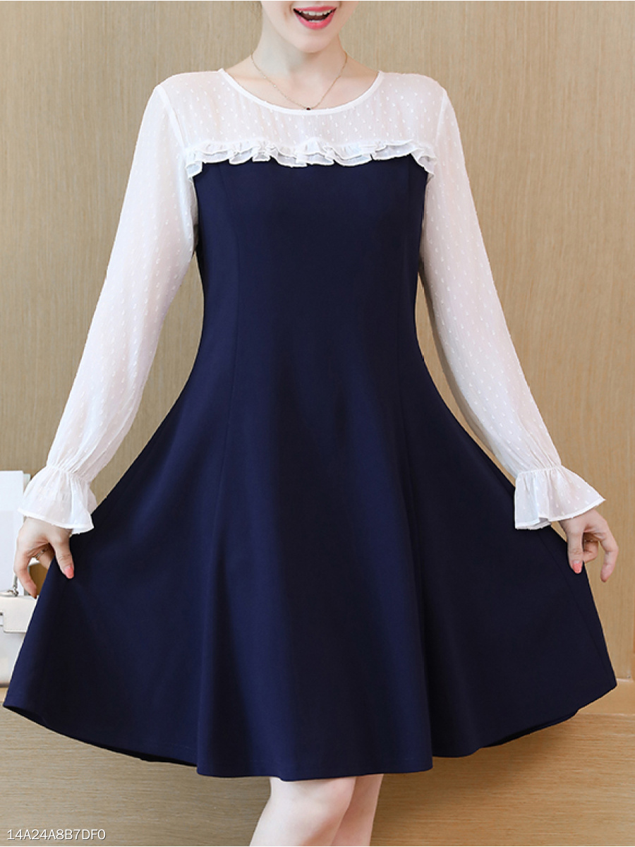 Round Neck  Color Block Colouring Jacquard Skater Dress