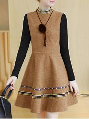 Band-Collar-Patchwork-Color-Block-Striped-Woolen-Skater-Dress
