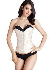 Strapless-Zips-Embossed-Lace-Up-Corset