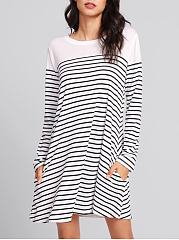 Round Neck  Plain Striped Shift Dress