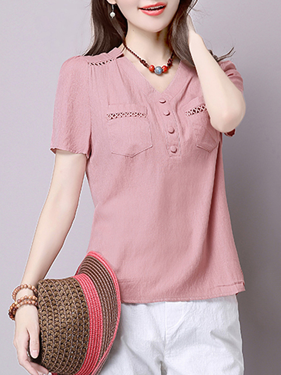 V-Neck Plain Patch Pocket Short Sleeve T-Shirt