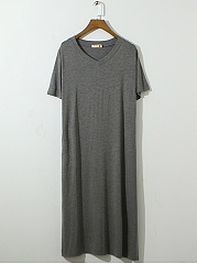 Round Neck  Side-Vented  Plain Maxi Dress