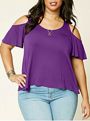 Open Shoulder  Plain  Short Sleeve Plus Size T-Shirts