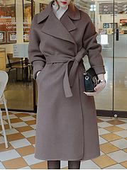 Lapel-Plain-Belt-Pocket-Long-Sleeve-Woolen-Coat