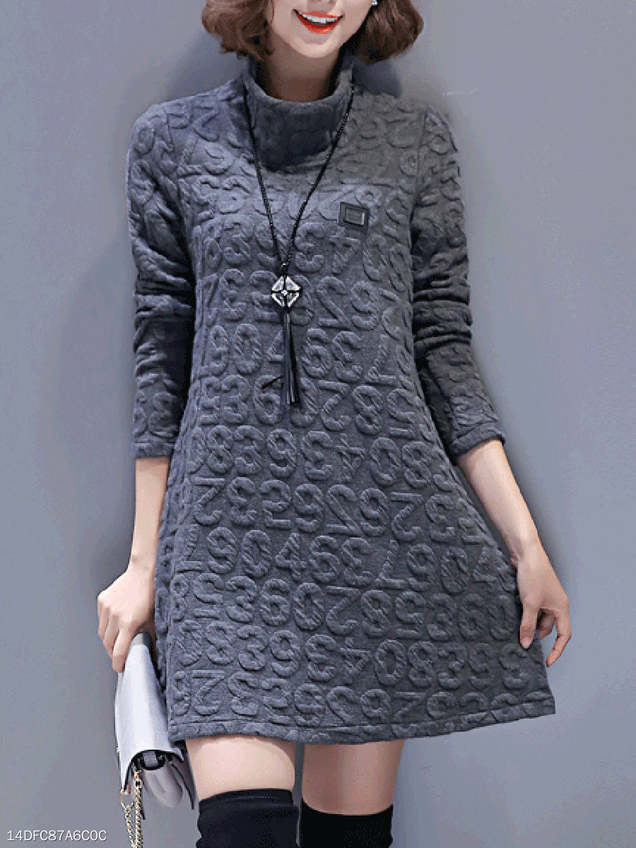 Band Collar  Brocade Casual Shift Dress
