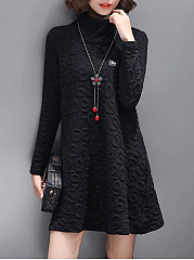 Band Collar  Brocade Shift Dress