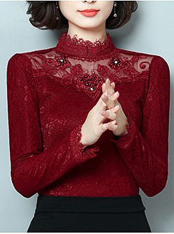Band Collar  Beading  Plain Long Sleeve T-Shirt