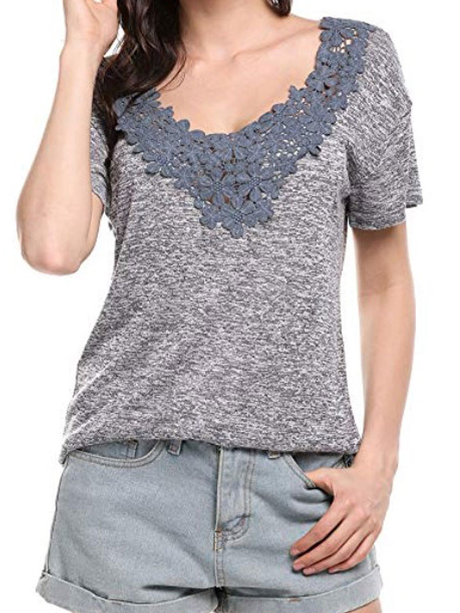 Spring Summer  Polyester  Women  V-Neck  Decorative Lace  Plain Short Sleeve T-Shirts