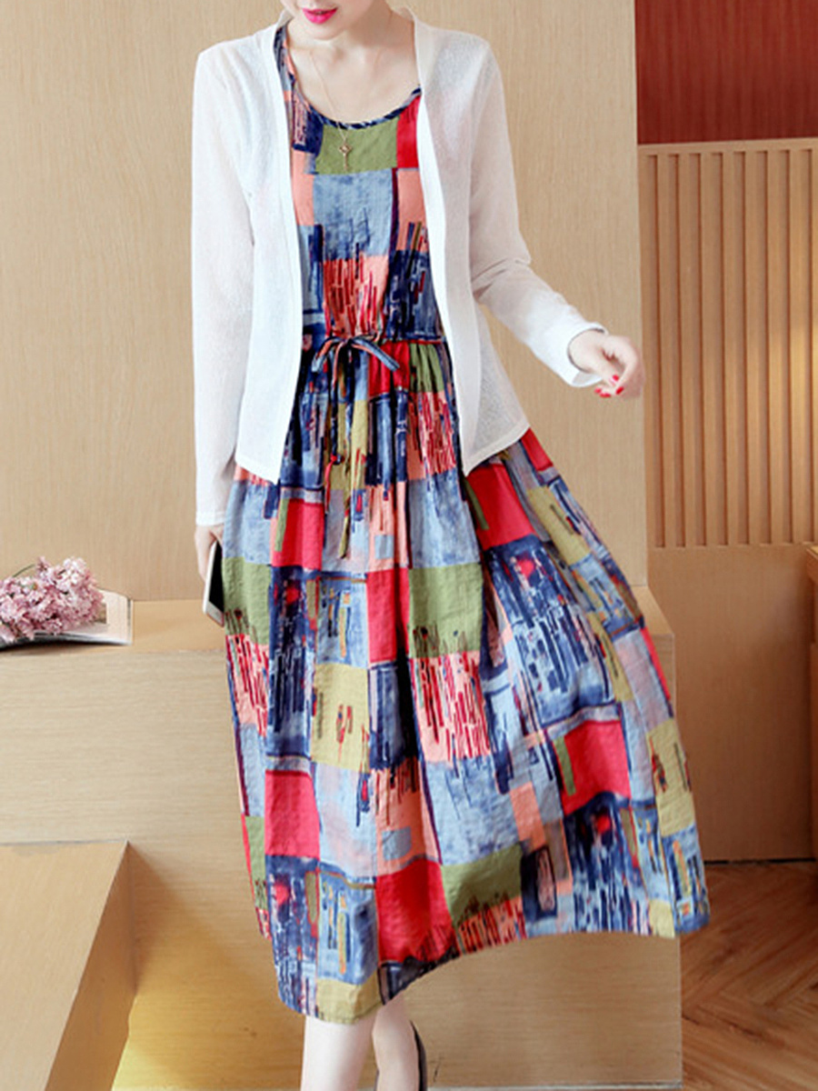 Long Sleeve Hollow Out Top And Drawstring Printed Dress