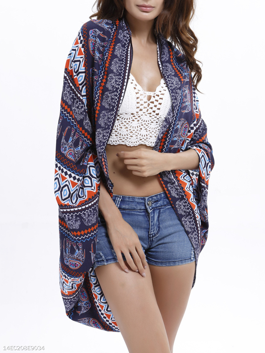 Snap Front Printed Batwing Sleeve Kimono