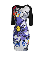 Colorful Color Block Floral Printed Bodycon Dress