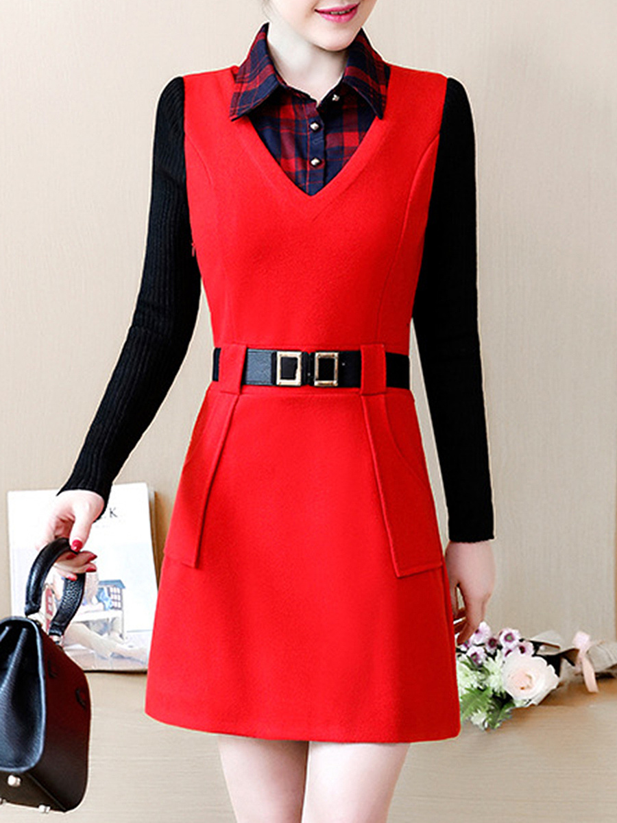 Fold-Over Collar  Plaid  Blend Bodycon Dress