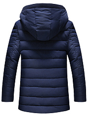 Men Hooded Plain Pocket Quilted Padded Coat