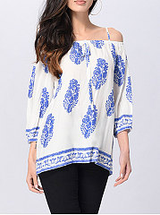 Spring Summer  Polyester  Women  Spaghetti Strap  Floral Printed  Long Sleeve Blouses