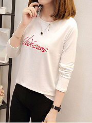 Round Neck  Embroidery Plain Long Sleeve T-Shirts