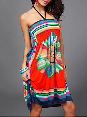 Halter Smocked Bodice Tribal Printed Skater Dress