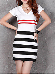 V-Neck  Striped Bodycon Dress