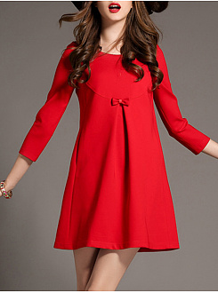 Round Neck Bowknot Plain Shift Dress