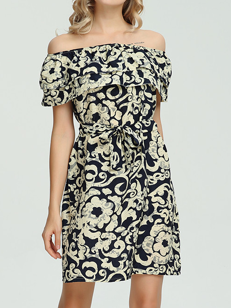 Open Shoulder   Print Bodycon Dress  Abstract    Bind