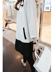 Cotton/Linen  Crew Neck  Color Block  Long Sleeve Blouses