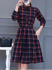 Band-Collar-Plaid-Elastic-Waist-Pocket-Woolen-Skater-Dress
