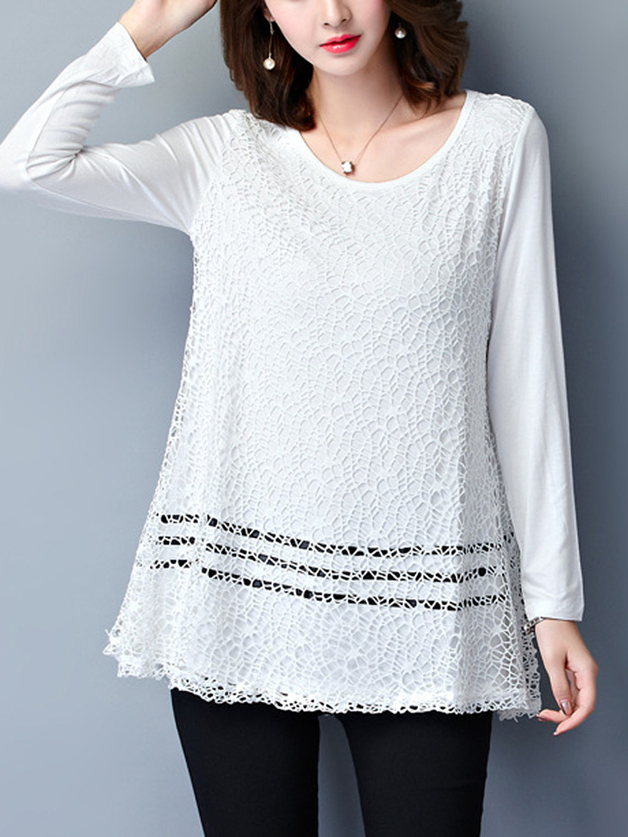 Round Neck Decorative Lace Striped Long Sleeve T-Shirt