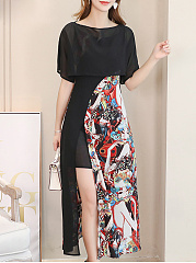 Round Neck  Colouring Printed Maxi Dress