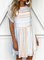 Cute Round Neck Striped Skater Dress