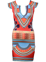 Fantastic Split Neck Tribal Printed Mini Bodycon Dress