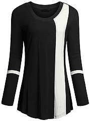 Modern-Color-Block-Round-Neck-Long-Sleeve-T-Shirt