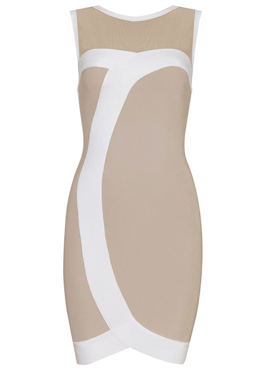 Round Neck Fabulous Color Block Bodycon Dress