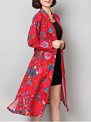 Floral Printed Single Button Pocket Long Sleeve Trench Coat