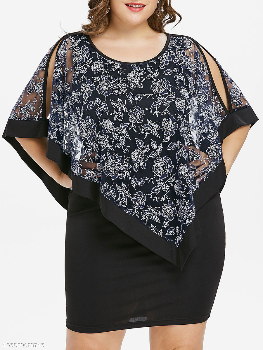 Round Neck  Cutout  Printed Plus Size Bodycon Dress