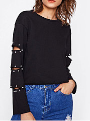 Round Neck  Beading  Hollow Out Long Sleeve T-Shirts