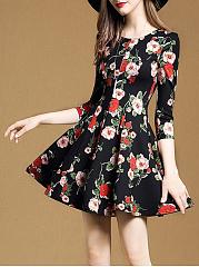 Round-Neck-Ruffled-Hem-Printed-Polyester-Skater-Dress