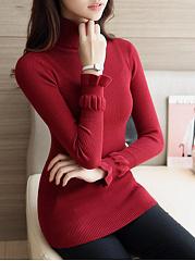 Designed-Turtleneck-Solid-Sweater