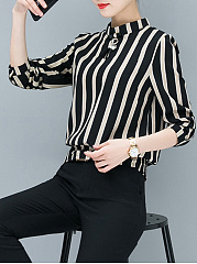 Autumn Spring  Polyester Polyvinyl Chloride  Women  Round Neck  Striped  Long Sleeve Blouses