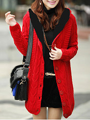 Hooded-Single-Breasted-Striped-Cardigans