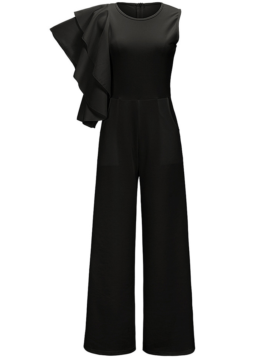Round Neck Tiered Ruffle Sleeve Plain Wide-Leg Jumpsuit